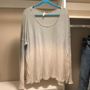 Free People Ombré Creme Long Sleeve Top Size Large